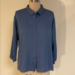 Uniqlo button down blue shirt